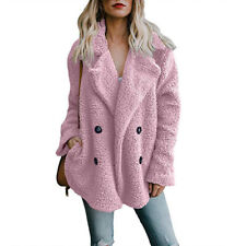 Womens Teddy Bear Button Pocket Fluffy Coats Fleece Fur Jacket Outerwear Hoodies