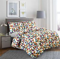 Diamond Duvet Cover Set 100% Cotton Quilt Soft Bedding Single Double King Size