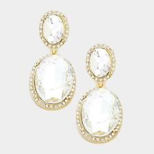 """2"""" Long Double Oval Clear Glass and Gold Tone Chandelier Earrings"""