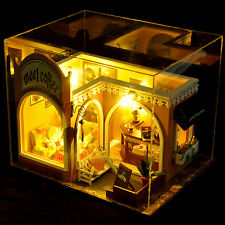 DIY Cafe Shop Wooden Miniature Dollhouse Hademade Doll House Furniture Toys Kit