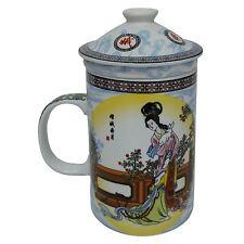 PORCELLANA CINESE Tè Tazza con infusore e coperchio-Chang ha Pattern
