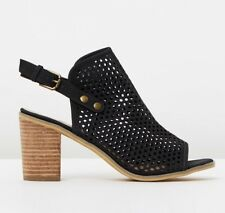 KO FASHION ELCA BLACK SANDAL SHOES OPEN TOE WOOD BLOCK HEEL. size 9.5-10, Eu 41.