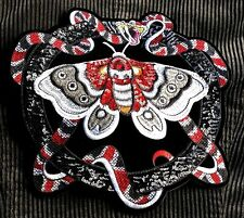 Large Snake Moth Embroidered Butterfly Sequin Applique Patch Sew On Gothic