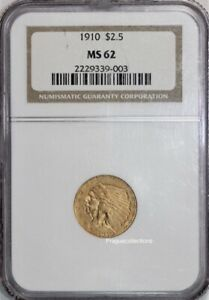 1910 2.50 gold indian MS62