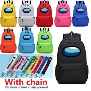 Among Us Game Shoulder Backpack With Chain Boys Girls School Bag Travel Rucksack