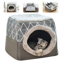 Lit Maison pour chien chat peluche Couchage douillet niche chaud Nid Panier Gris