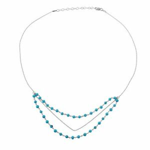 14K WHITE GOLD OVER 925 STERLING SILVER TRIPLE STRAND TURQUOISE BEAD NECKLACE