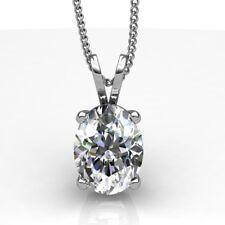14K White Gold Finish Oval Cut Solitaire D/VVS1 Diamond Pendant Necklace 1.50 Ct