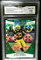 JUSTIN HERBERT ROOKIE SSP GALACTIC PRIZM REFRACTOR RC GRADED GEM MT 10 CHARGERS