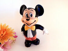 Mickey Mouse Coin Bank Walt Disney Figurine Vintage 1970s Collectible Disneyana