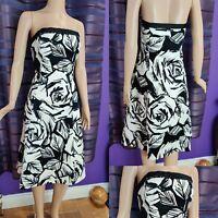 Beautiful COAST Bardot Dress UK 14 Black/White Lined Cotton Party Cruise Immacul