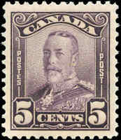 Mint Canada 5c 1928 F-VF Scott #153 King George V Scroll Issue Stamp Hinged