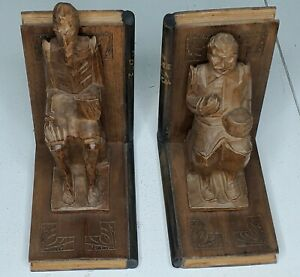 Don QUIXOTE Hand Carved WOOD BOOKENDS  de La Mancha