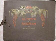 1910ca GLIMPSES OF BURMAH Ernest Muriel 24 fotostampe Birmania Myanmar Burma