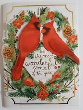 4 Punch Studio Large Dimensional Cards Cardinals Red Bird Wreath Xmas Gold Foil