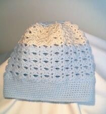 Bonnet bébé bleu et gris fait main réalisé au crochet