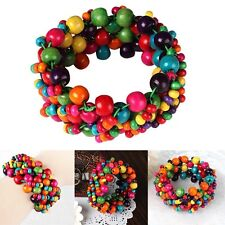 Women's Fashion Ladies Retro Rainbow Colorful Bracelet Wood Bead Bright Bohemian