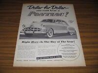 1950 Print Ad Pontiac 4-Door Silver Streak Styling Dollar for Dollar