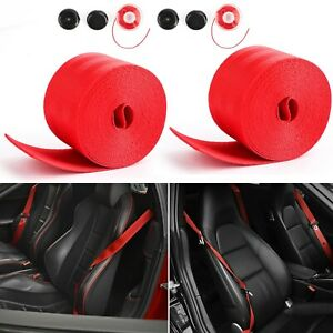 2X Car Seat Belt Webbing Polyester Seat Lap Retractable Safety Strap Red 3.5M A6