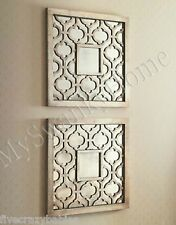 SQUARE FRETWORK Mirror Wall Art PAIR Neiman Marcus Set of 2 Silver GUMP'S Wood
