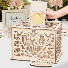 Laser Cut Wooden Wedding Wishing Well Card Box Money Gift Holder W/ Lock 2 Keys