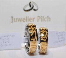 Ein Paar Trauringe Eheringe Gold 585 Bicolor Breite 6mm ohne Steinen