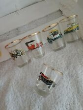 Pretty Vintage French Shot  Glasses Gilt Decorated Old Cars x5