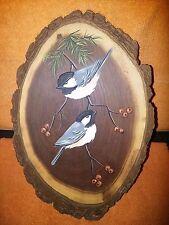 Hand painted tree slab slice - Two birds on tree branch - Wall Art - Made in USA