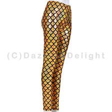 WOMEN MERMAID FISH SCALE METALLIC HOLOGRAPHIC GEOMETRIC STRETCH LEGGINGS PANTS