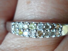 Gorgeous 100% Genuine Natural Fancy Diamond Sterling Silver Ring 0.28ct