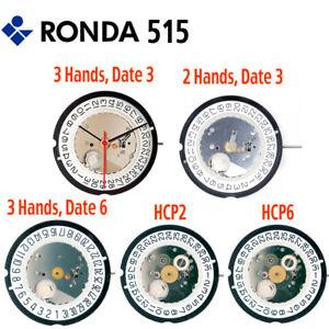 Ronda 515 Quartz Watch Movement, Swiss Parts (Multiple Variations)