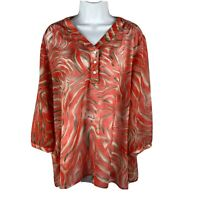Chico's 3 Blouse Sheer XL Long Sleeves Casual Buttons Orange Travel Beach