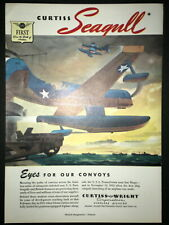 1943 Seagull Sea Plane Us Navy Curtiss Wright Wwii vintage Trade art print ad