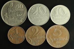 LATVIA Lettland Lettonia FULL SET 1922 -1939 coins 1,2,5,10,20,50 Santimi M906