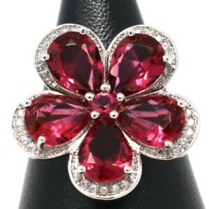 Hand Carved 6 Ct Red Ruby Diamond Halo Band Ring Women Engagement Jewelry Gift