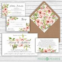 Personalised Luxury Rustic Wedding Invitations PASTEL PINK FLORAL packs of 10