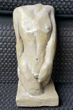 Mid 20th Century Contemporary Nude Female Torso Clay Sculpture Signed JH