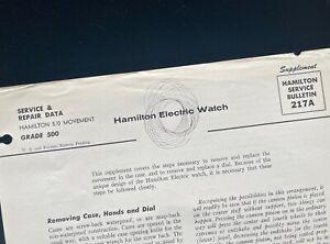 Original 1958 watchmaker's vintage Hamilton Electric 500 Service Bulletin tips