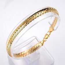 """Unisex Bracelet Unique Link 18K Yellow Gold Filled 8""""Chain Lucky Fashion Jewelry"""