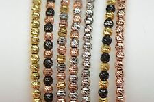 Sterling Silver 925 Diamond-cut Beads Stretch Italian made Bracelets