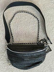 Steve Madden Bmarty Convertible Black Belt & Crossbody Shoulder Bag / Fanny Pack