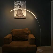 Modern LED Floor Lamp Contemporary Silver Arc Curved Light Minimalist Design