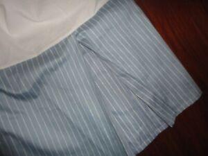"""MACY'S CHARTER CLUB BLUE & WHITE PINSTRIPE KING BEDSKIRT 16""""  SPLIT CORNER"""