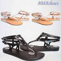 Women's Summer  Causal Buckle Metallic Thong Flat Sandal Shoes NEW Size 5.5 - 10