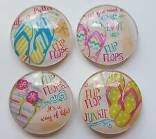 "Sand Flip Flop Beach Sayings Glass Magnets Fridge Decor Strong 1 1/8"" Round Dome"