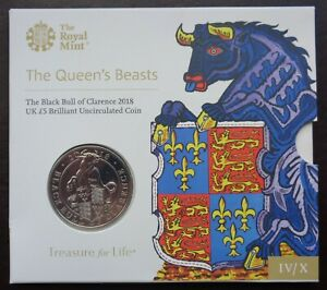 2018 Royal Mint £5 Coin Pack Queens Beasts Black Bull of Clarence