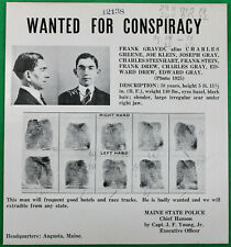 Original ca 1920s Maine State Police Wanted Poster Conspiracy