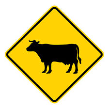 Cow Crossing Symbol Warning Sign - 30 x 30. A Real Sign. 10 Year 3M Warranty