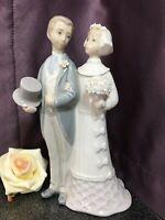 "8"" Lladro Bride & Groom Wedding Couple Porcelain Cake Topper / Figurine 1977"