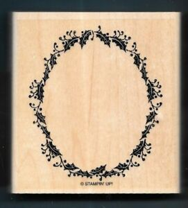 CHRISTMAS FRAME BORDER HOLLY BERRY Holiday Stampin' Up! Yuletide RUBBER STAMP